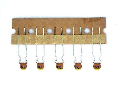 50V-,L 68J 5/% ca.ø8,4x2,3 RM4,7 5x Keramik-Kondensator 68pF Kerko G162