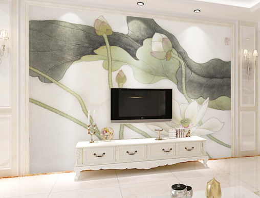 3D Lotus Leaves 843 Wall Paper Murals Wall Print Wall Wallpaper Mural AU Kyra