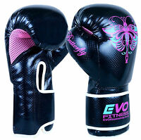 Evo Fitness Ladies Pink Gel Boxing Gloves Mma Punch Bag Leather Sparring 4-12oz