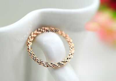 18K Rose Gold Gp  Unique Fashion Simple Ring Size 6,7,8,9 BR640