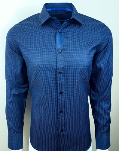 355 MENS DETAILED COLLAR FORMAL CASUAL TEXTURED FABRIC SHIRT WAS £ 30 NOW £17.99