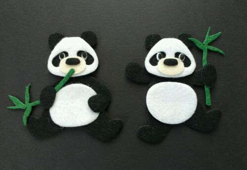 Handmade 2 panda bear Embellishments with bamboo shoots. felt Die cuts, toppers