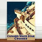 "Vintage Boat Travel Poster Art ~ CANVAS PRINT 16x12"" ~ White Star Cruise Ship"