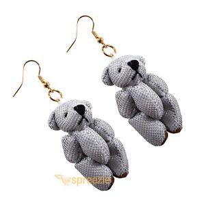 Image Is Loading Silver Teddy Bear Earrings Sparkly Dangle Drop Jewelry
