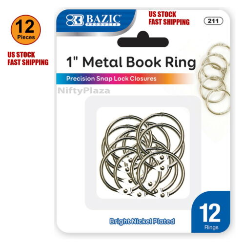 12 pcs 1 Inch Metal Silver Color Book Rings Excellent Quality Home School Office