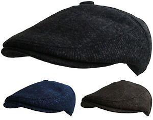 e168526f81d Mens Button Top Flat Cap Tweed Country Caps Bakerboy Hat ...