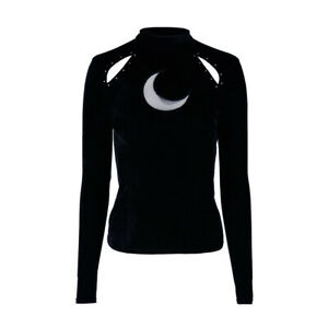 Restyle Gothic Occult 80s Crescent Over the Moon Black Velvet Blouse Top Size M