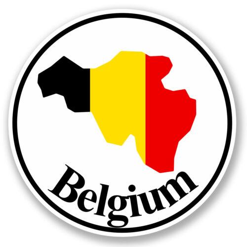 2 x 10cm Vinyle Sticker Autocollant Belgique Bagage Voyage label tag drapeau Map # 5795