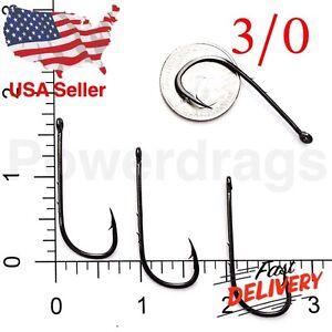 100 Size 3//0 Baitholder Fishing Hook Chemically Sharpened Black Jig Hooks USA 50