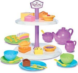 Casdon-MR-KIPLING-039-S-CAKE-STAND-amp-TEA-SET-Role-Play-Shapes-Children-039-s-Toy-BN