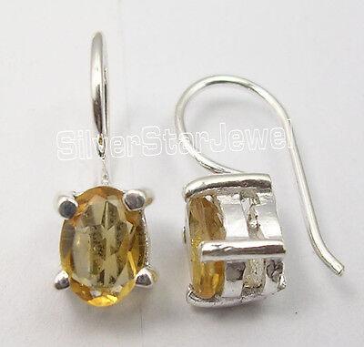 "Fine Earrings .925 Solid Silver Faceted Yellow Citrine Little Earrings 5/8"" 1.9 Grams Traveling"