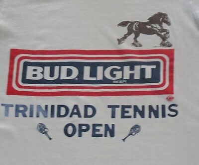 VINTAGE ORIGINAL BUD LIGHT TEE SHIRT BUDWEISER TRINIDAD TENNIS OPEN 1980's XS S