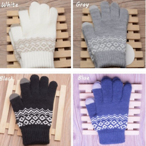 952155174 Fashion Touch Screen Gloves Ladies Stretch Wool Knit Mittens Winter ...