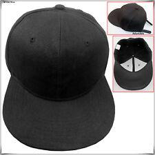 7683eb932 Baseball Snapback Plain Cap Funky Hip Hop SP Retro Classic Vintage Flat Hat  Lot Black 10x