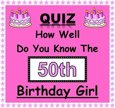 10 feuilles-Fun Game 50th Birthday Girl Quiz-Nouveau Design /& toutes les nouvelles questions