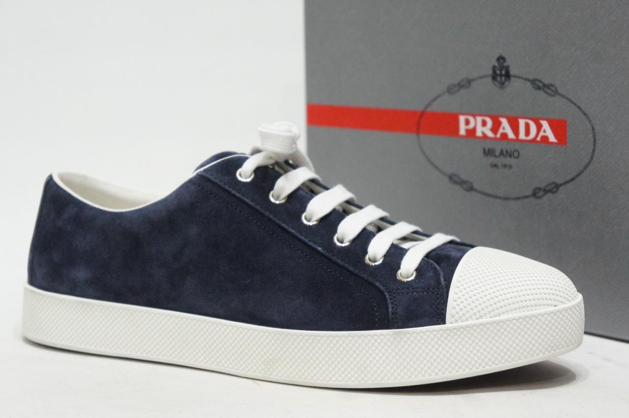 PRADA LÅG PROFILE PROFILE PROFILE blå SUEDE LEADER skor skor 41  11  495  till salu 70% rabatt