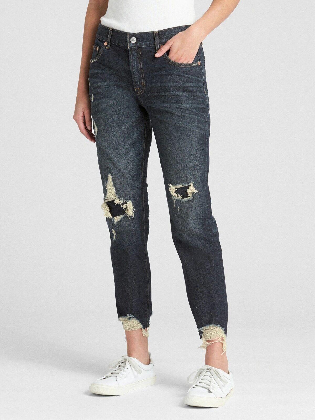 Gap Mid Rise Girlfriend Jeans in Distressed, Dark Indigo SIZE 27   N0103