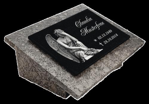 Granit Grabstein Grabplatte Grabtafel Grabschmuck 25x20x3 Text Gravur Engel-gg7s