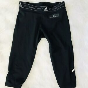 STELLA-MC-CARTNEY-x-ADIDAS-BLACK-CROP-FITTED-YOGA-BICYCLE-RUNNING-PANTS-SIZE-S