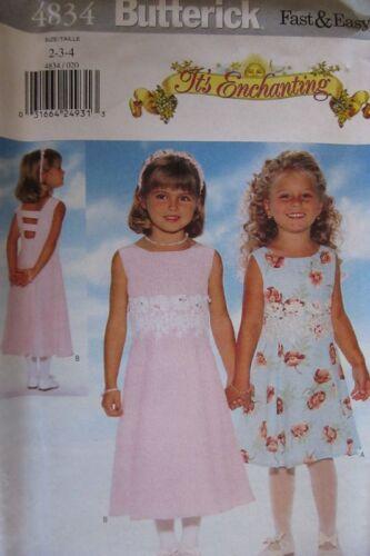 UNCUT Vintage Butterick SEWING Pattern 4834 Girls IT/'S ENCHANTING Dress 2-6X