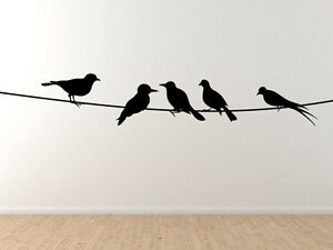 Birds On A Wire 2 Telephone Power Line Hanging Out Vinyl Wall
