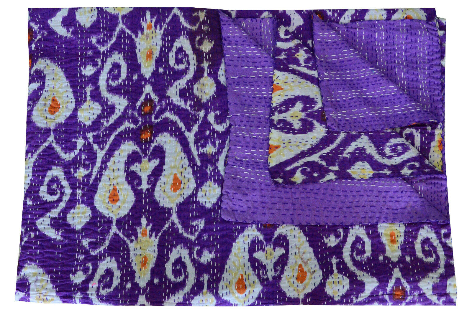 Indain Paisley Print Kantha Quilt Cotton Purple Bedspread Throw Bedding Bedcover