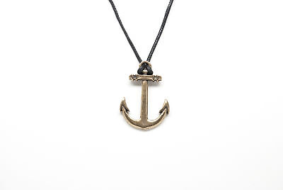 """Ship Anchor Style Fashion Pendant Necklace with 28/"""" Black Cord K279"""