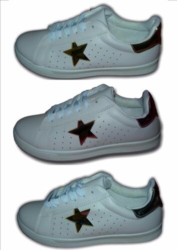 Ladies Girls Classic Retro Trainers White//gold//Silver,Pink SUPERSTAR Sizes 3-8