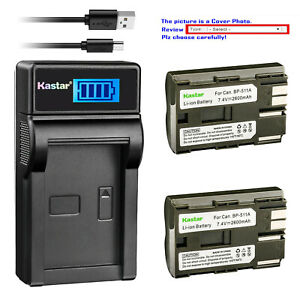 Kastar-Battery-LCD-Charger-for-Canon-BP-511-BP-511A-amp-Canon-Optura-10-Optura-20