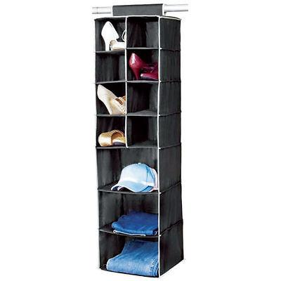 7 Shelf Hanging Organiser Wardrobe Clothes Tidy Shoes Socks Storage Black/Cream