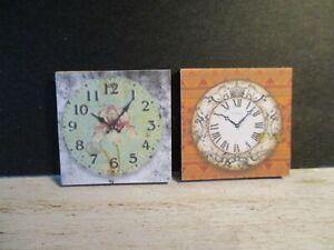 2 Maison De Poupées Miniature Horloges Dnu2-afficher Le Titre D'origine