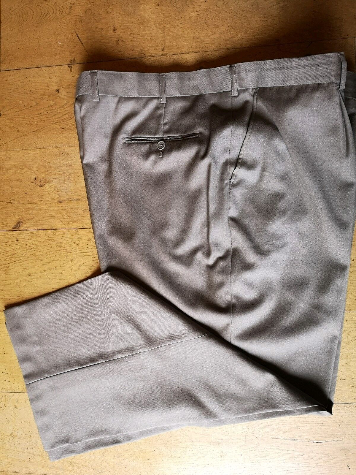 Pierre Cardin TROUSERS Formal Beige Wool Lined 46W 31L Regular Pleated Front 3XL