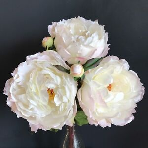 Bunch 3 large white peonies realistic artificial luxury faux silk image is loading bunch 3 large white peonies realistic artificial luxury mightylinksfo Image collections