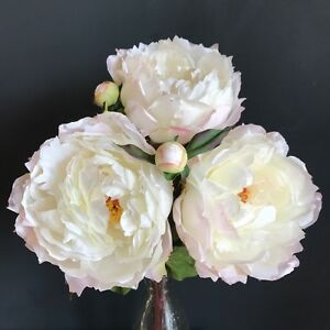 Bunch 3 large white peonies realistic artificial luxury faux silk image is loading bunch 3 large white peonies realistic artificial luxury mightylinksfo