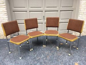 Tremendous Details About Mid Century Daystrom Dining Chairs 4 Tweed Seats And Backs Vinyl Trim Mcm Lamtechconsult Wood Chair Design Ideas Lamtechconsultcom
