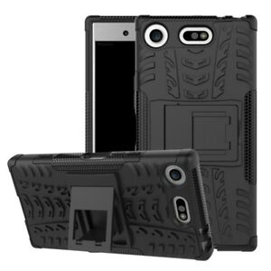 Hibrido-Funda-2-piezas-Exterior-Negro-Funda-para-Sony-Xperia-XZ1-Compact-NUEVO