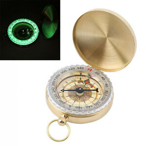 Brass-Pocket-Watch-Style-Outdoor-Camping-Hiking-Navigation-Compass-Ring-Keychain