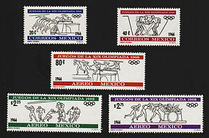 OPC-1966-Mexico-Olympic-Set-Sc-974-5-C318-C320-Mint-Never-Hinged