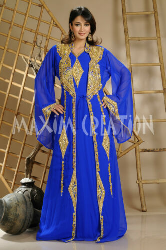 MOROCCAN DUBAI KAFTAN MAXI THOBE LADIES MAXI DRESS ABAYA WEDDING GOWN 3204