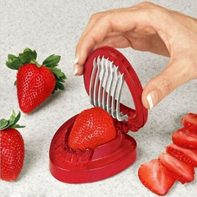Strawberry Berry Stem Gem Leaves Huller Remover Fruit Corer Slicer Cutter Split