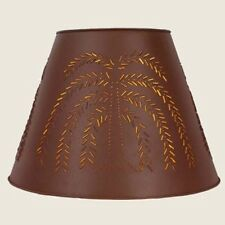 """Country new large 17"""" red tin punched WILLOW lamp shade / nice"""