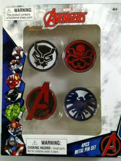 The Avengers 4 Piece Metal Pin Set Marvel BRAND NEW Lapel WalGreens Exclusive