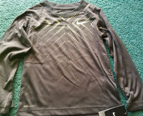 NWT Nike Boys 6 Dark Gray//Neon Yellow//White Graphic Dri-Fit L//S Shirt 6