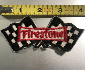 Vintage-Firestone-Checkered-Flag-Embroidered-Patch-Sew-On-NASCAR-Indy-Hot-Rod-F1