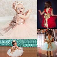 Blumen Mädchen Baby Festkleider Kinder Hochzeit Party Pailletten Tüll Kleid