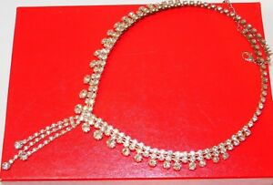 Vintage-Silver-Tone-Shiny-White-Rhinestone-22-034-Necklace