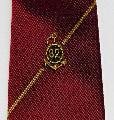 82 Anchor crested tie fouled anchor navy club skinny maroon terylene 1950s 1960s