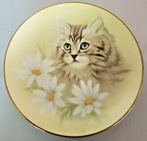 """Cat Kitty Collector Plate """"Spring Fever"""" Petals and Purrs Series Bob Harrison"""
