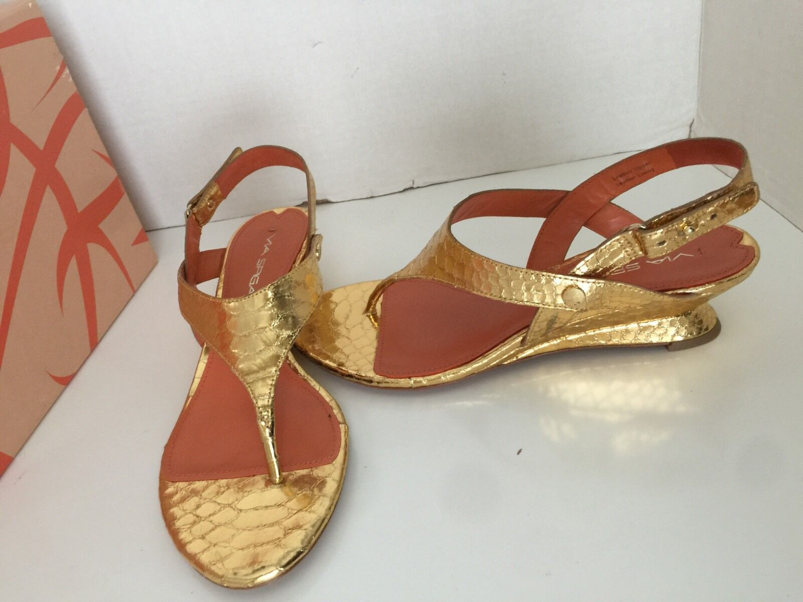 Via Spiga Leanne Metallic gold Leather Open Toe Thong Wedge Sandals 6, 7.5