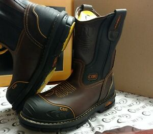 Cebu Mens Leather Steel Toe Work Boots Slip Oil Resistant